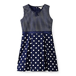 Yumi Girl - Girl navy polka dot 'Axelle' skater dress