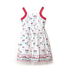 Yumi Girl - Girl white flamingo print skater dress