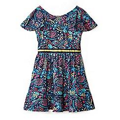 Yumi Girl - Girl navy bold printed dress