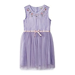 Yumi Girl - Girl purple embellished neck detail dress