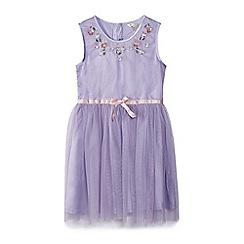 Yumi Girl - Girl purple embellished neck detail dress