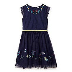 Yumi Girl - Girl navy embroidered mesh party dress
