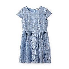 Yumi Girl - Girl blue floral lace 'Babette' skater dress