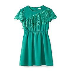 Yumi Girl - Girl green eyelash lace 'Badia' skater dress