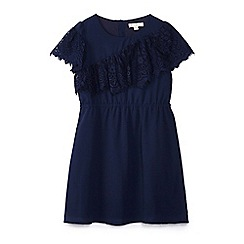 Yumi Girl - Girl navy eyelash lace 'Badia' skater dress