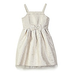 Yumi Girl - Girl gold floral jacquard 'Bambi' party dress