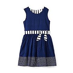 Yumi Girl - Girl navy polka dot skater dress