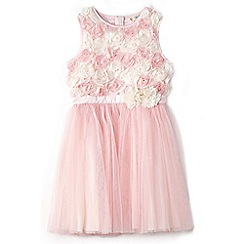 Yumi Girl - Girl light pink 3d rose party dress