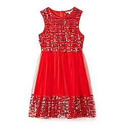 Yumi Girl - Girl red sequin mesh skater dress