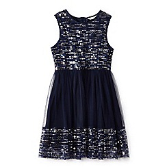 Yumi Girl - Girl navy sequin mesh skater dress