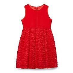 Yumi Girl - Girl red 3d rose pintuck party dress