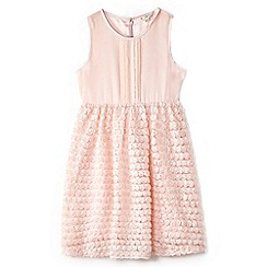 Yumi Girl - Girl light pink 3d rose pintuck party dress