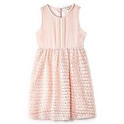Yumi Girl - Girl light pink 3d rose pintuck party dress