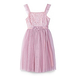 Yumi Girl - Girl light pink sequin party dress