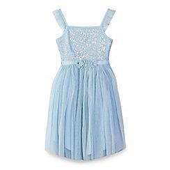 Yumi Girl - Girl light blue sequin party dress