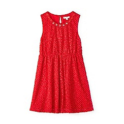 Yumi Girl - Girl red lace spotted skater dress