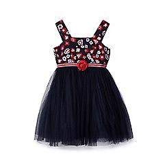 Yumi Girl - Girl navy rose print tulle dress
