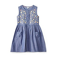 Yumi Girl - Girl mid blue embroidered front pocket dress