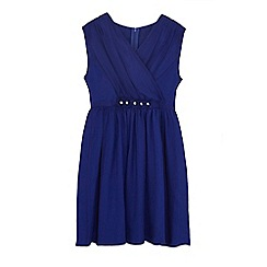 Yumi Girl - Girls' dark blue chiffon 'Olivia-grace' skater dress