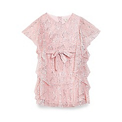 Yumi Girl - Girls' light pink rose patterned metallic 'Amriel' dress