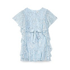 Yumi Girl - Girls' light blue rose patterned metallic 'Amriel' dress