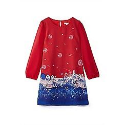Yumi Girl - Girls' red seaside scene 'Rabia' tunic dress