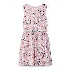 Yumi Girl - Girl pink floral lace skater dress