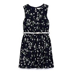 Yumi Girl - Girl navy floral lace skater dress