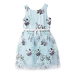 Yumi Girl - Girl light blue floral spring party dress
