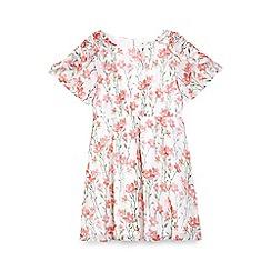 Yumi Girl - Girls' white floral 'Shyla' kimono sleeve skater dress