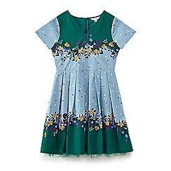 Yumi Girl - Dark green persian floral 'Bradie' fit &flare dress