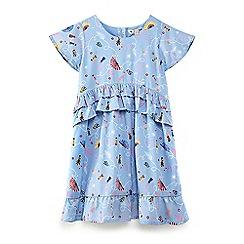 Yumi Girl - Pale blue retro flapper print 'Braela' tunic dress