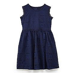 Yumi Girl - Girls' navy corded lace 'Chalyn' skater dress