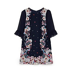 Yumi Girl - Girls' navy flapper print 'Chamel' frill sleeve tunic