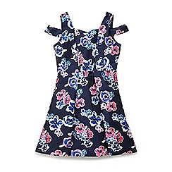 Yumi Girl - Navy floral 'Braily' cold shoulder occasion dress