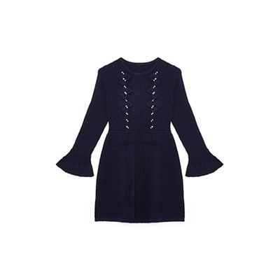 Yumi Girl   Navy Embellished Bow 'braina' Knitted Dress by Yumi Girl
