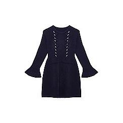 Yumi Girl - Navy embellished bow 'Braina' knitted dress