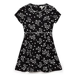 Yumi Girl - Black garden botanicals 'Bralen' skater dress