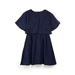 Yumi Girl - Girls' navy pleated top lurex skater shape dress