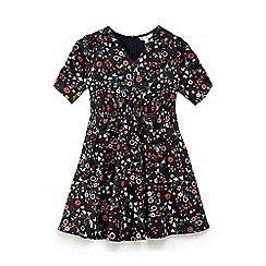 Yumi Girl - Black floral 'Braley' smock dress