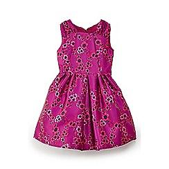 Yumi Girl - Girls' pink floral grosgrain dress