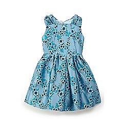 Yumi Girl - Girls' light blue floral grosgrain dress