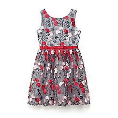 Yumi Girl - Girls' light grey winter floral prom dress