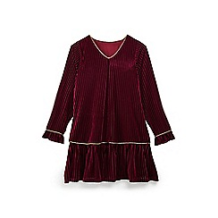 Yumi Girl - Girls' plum velvet stripe tunic dress