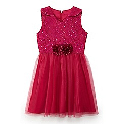 Yumi Girl - Girls' pink metallic lace prom dress