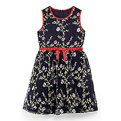 Yumi Girl - Girls' navy bauhaus floral prom dress
