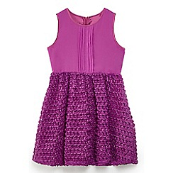 Yumi Girl - Girls' plum pintuck rose prom dress