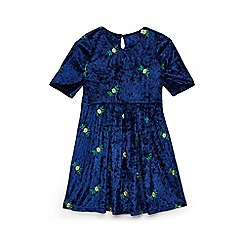 Yumi Girl - Girls' navy embroidered velvet skater