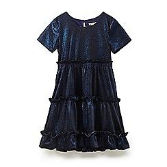 Yumi Girl - Girls' navy twirly velvet dress