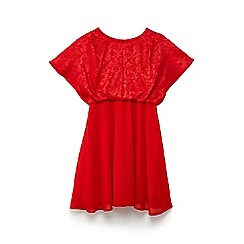 Yumi Girl - Red floral jacquard 'Branda' party dress